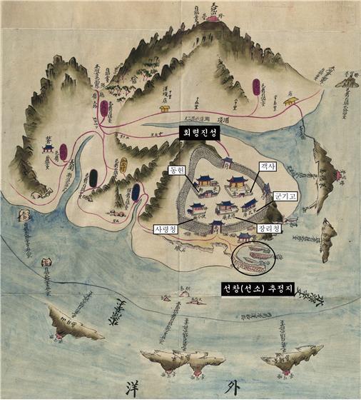 장흥부 회령포진지도(1872년 제작)